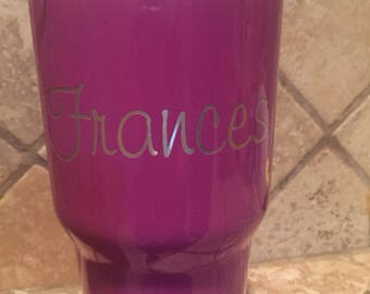 Personalized Laser Etched Stainless Steel  Powder Coated  30 ounce Tumbler