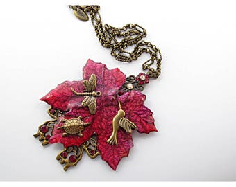 Statement Red Necklace for Nature Lovers with Hummingbird Dragonfly and Turtle, Real Leaf Jewelry Nature Necklace