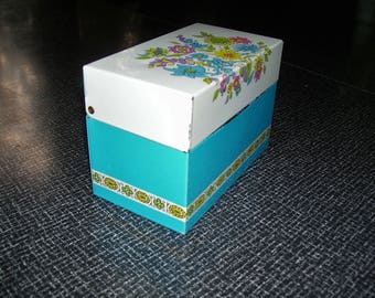 Metal Recipe Box Floral Aqua Ohio Art with Dividers   3x5  Vintage