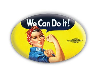 Rosie the Riveter 'We Can Do It!' Oval Pinback Button // Pin // Badge