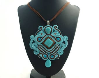 Rectangular Soutache Pendant, Bead Embroidery Necklace, Turquoise Howlite Necklace,