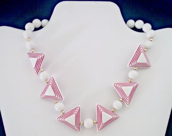 Vintage Statement Necklace, Art Deco Inspired Triangle Bead Necklace, White and Red Plastic, Mid Century Modern, Circa 1960s, Includes Box