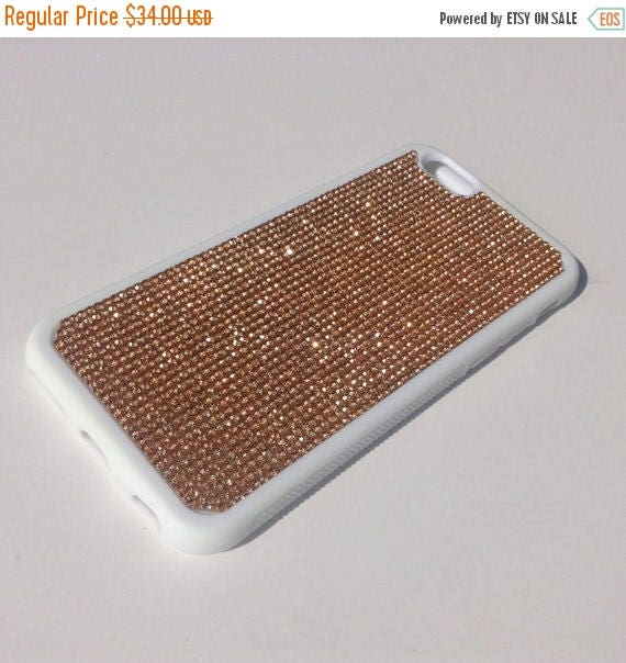 """Sale iPhone 6 / 6s 4.7"""" Rose Gold Diamond Crystals on White Rubber Case. Velvet/Silk Pouch Bag Included, Genuine Rangsee Crystal Cases"""