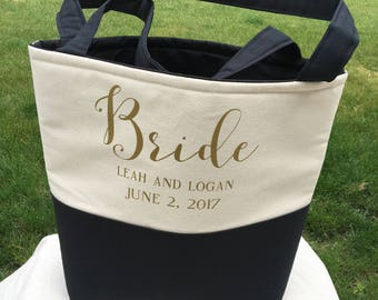 Bride Bag - Bag for Bride - Wedding Bag-Lined Monogrammed Tote Bag   - Personalized Tote Bags - Bridal Bag - Custom Tote Bag - Monogram Tote