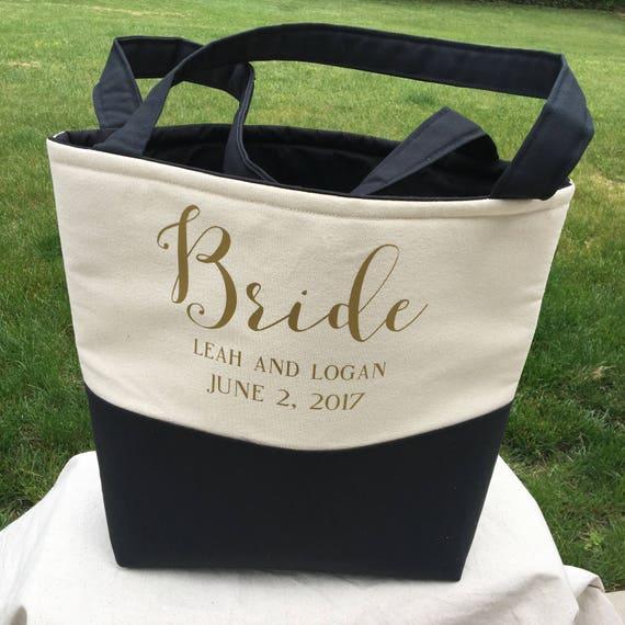 Bride Bag - Bag for Bride - Wedding Bag-Lined Monogrammed Tote Bag   - Personalized Tote Bags - Bridal Bag - Custom Tote Bag - Monogram Tote