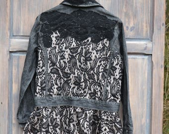 Denim jeans jacket hippie boho L XL denim recycled clothing upcycled embroidered jacket
