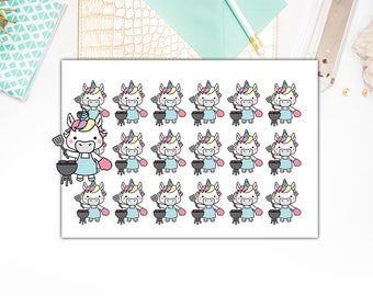 Unicorn BBQ Stickers, Unicorn BBQ Planner Stickers  – Sticker Sale, Sized for the Erin Condren – 4023