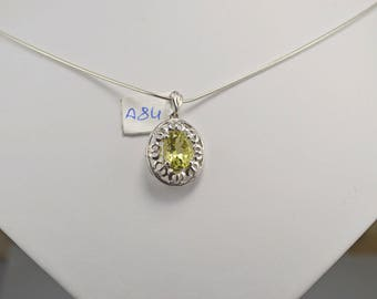 Lemon Topaz Sterling Silver Pendant, Rhodium Plated