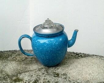 Granite Percolator Coffee Pot Antique Blue and White Enamel ware Tea Pot Rare find