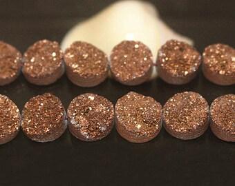 8mm 10mm 12mm 14mm, Titanium Druzy Beads, Brown Round Drilled Druzy beads, Druzy Agate Beads, Druzy Quartz,