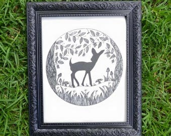 Baby Deer - Fawn - Bambi Wall Art Print of Original Ink Drawing - Limited Edition Signed Illustration