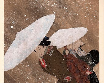 1906, Japanese antique woodblock print, Kitagawa Utamaro, from Ukiyoe-ha-gashu.