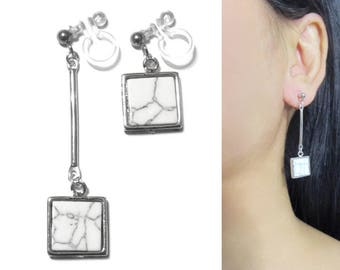 Square White Marble Faux Stone Dangle Clip On Earrings |33a| Geometric Unmatched Bar Long Clip Earrings, Silver Invisible Clip-ons Earring