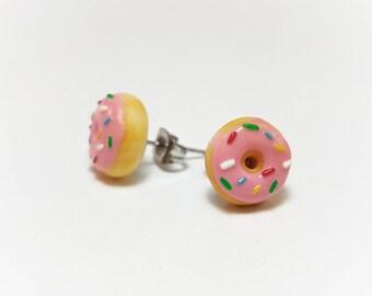 Pink Sprinkle Donut Earrings