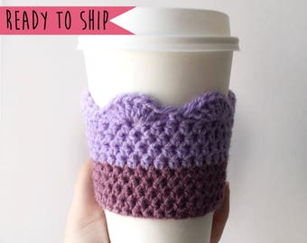 Purple Coffee Cozy, Cup Cozy, Coffee Cosy, Cup Sleeve, Crochet Coffee Cozy, Coffee Sleeve, Rainbow Coffee Cozy, Coffee Cosy