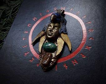 Sky Spirit Idol/ Pendant with Amazonite and Rutile Quartz/Bird Goddess /Crystal Pendant/Crystal Jewelry/Handmade/Unique/Pagan/Heathen/Amulet