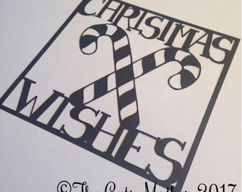 Christmas Wishes Candy Canes Card Paper Cutting Template - Commercial Use