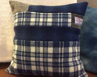 Patchwork in Blue Harris Tweed cushion