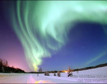 Poster, Many Sizes Available; Aurora Borealis, Or Northern Lights, Bear Lake Alaska