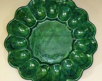 15 Divot Egg Plate, Sea Green