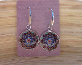 Colourful Mandala Round Glass Photo Cabochon Dangle Hook Earrings, Silver Setting