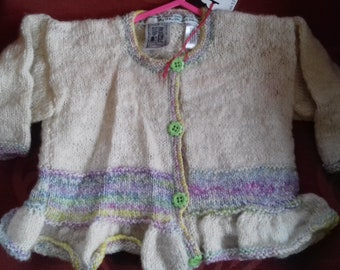 Hand knitted cardigan,  knitted with home spun wool to fit a little girl aged 1-2 years old
