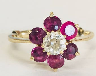Antique Ruby Ring Vintage Ruby Engagement Ring 1.20cttw Ruby Halo Ring 0.35 carat Old European Cut Diamond 14k yellow gold