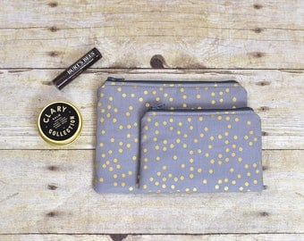Zipper Pouch - Gray and gold pouch - gold polka dot pouch - gray pouch - polka dot pouch - makeup bag - pouch - makeup pouch