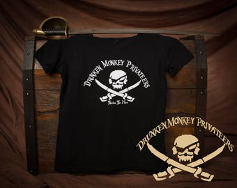 Women's V-Neck Pirate T-Shirt, Drunken Monkey Shirt, Pirate Clothing, Pirate Logo Shirt