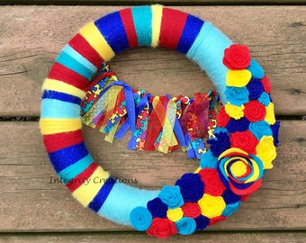 Autism Awareness Yarn Wrapped Wreath