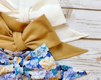 Gorgeous Wrap Trio (3 Gorgeous Wraps)- Blanc, Champagne & Peach Garden Gorgeous Wraps; headwraps; fabric head wraps; headbands