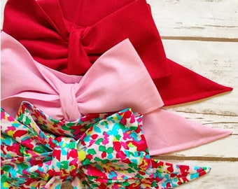 Gorgeous Wrap Trio (3 Gorgeous Wraps)- Crimson, Ballet Pink & Crimson Confetti Gorgeous Wraps; headwraps; fabric head wraps; bows