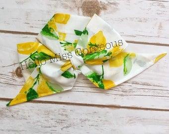 LEMON MERINGUE Gorgeous Wrap- headwrap; fabric head wrap; lemon head wrap; boho; newborn headband; baby headband; toddler headband