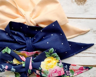 Gorgeous Wrap Trio (3 Gorgeous Wraps)- Light Peach, Navy Sky & French Navy Floral Gorgeous Wraps; headwraps; fabric head wraps; bows