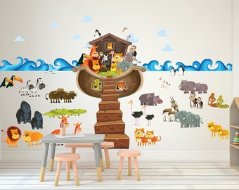 Giant Noah's Ark Wall Decal // Noah with Animals Ark Wall Sticker // Complete Noah's Ark with Animals - WDSET10056