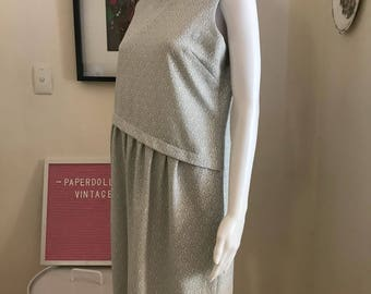 1960s silver and white asymmetrical shift midi dress size 12 - 14