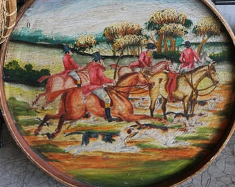 SOLD!!! Vintage Fox Hunting Painting