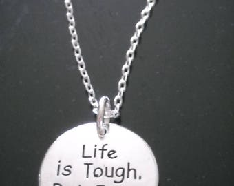 "New~Silver~Necklace ""Life is Tough. But I am Tougher"" with no additional charm ~ Many M0RE Options~JW.org~ Gift ~ Intro Price 12.95"