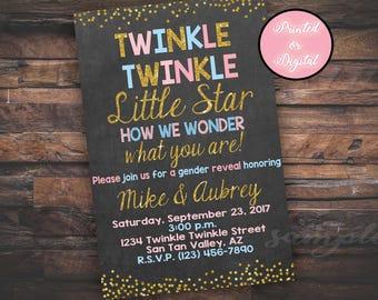 Twinkle Twinkle Little Star Invitation,  Gender Reveal Invitation, Twinkle Twinkle Little Star Gender Reveal, Chalkboard, DIGITAL