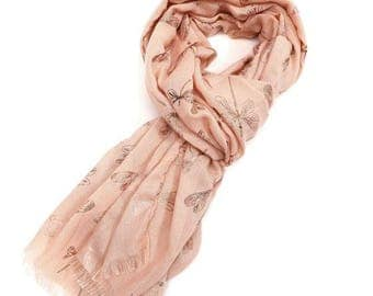 Beautiful Rose Gold Dragonflies Scarf