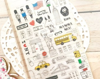 Cute Illustrated NEW YORK DIARY Suatelier Diary/ Deco Travel Diary Stickers/1 Sheet