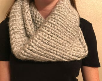 Knit Chunky Gray Cowl