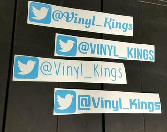 3 or 2 Twitter Name Decal Stickers!