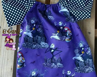 Nightmare Before Christmas Peasant Dress, Peasant Style Dress, NBC Dress, Nightmare Before Christmas Girls Dress, Holiday Dress