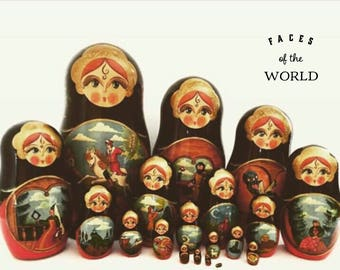 "Exquisite Set of 20 Nesting Dolls, 1994 Christmas Nesting Dolls, Large Russian Matryoshka Dolls,  ""The Princess Frog."" Russian Fairy Tale."