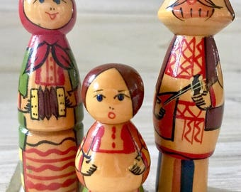 Set of 3 Brest, Belarus Nesting Dolls, Solid Wooden Doll Family, Musician Figurines, Musical Family Playing Balalaika & Accordion.