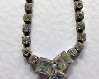Vintage Rhinestone Necklace, Art Deco Necklace, Crystal Necklace, Vintage Wedding, Circa 1940