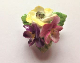 Vintage Porcelain Brooch, English Porcelain Brooch, Pansy Brooch, Hand Painted Brooch, Mothers Day Gift