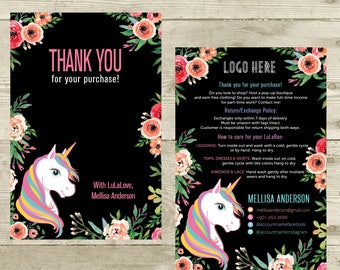 Thank You Card, Personalization, Return/Exchange Policy, Fashion Retailer, Return/Care/Policy, Unicorn and Flowers, Digital File LLR031