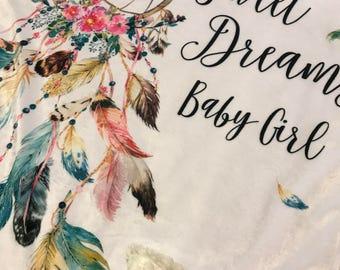 Boho baby blanket / feather baby blanket / dreamcatcher blanket / Faux fur minky blanket / boho nursery / boho baby shower